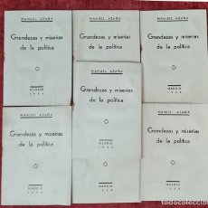 Libros antiguos: GRANDEZAS Y MISERIAS DE LA POLITICA. MANUEL AZAÑA. EDIT. ESPASA CALPE. 7 EJEMPLARES. 1934.. Lote 214245007