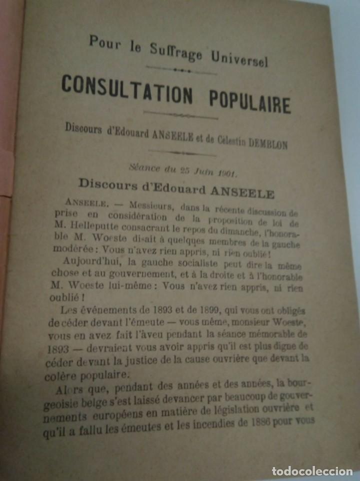 Libros antiguos: Pour le Suffrage Universel. Consultation Populaire. Anseele et Demblon 1901 - Foto 4 - 216577473