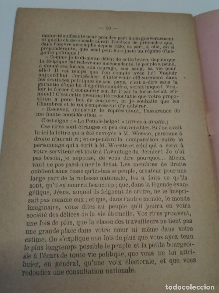 Libros antiguos: Pour le Suffrage Universel. Consultation Populaire. Anseele et Demblon 1901 - Foto 5 - 216577473
