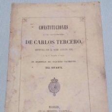 Libros antiguos: CONSTITUCIONES DE LA ORDEN ESPAÑOLA CARLOS TERCERO. MADRID 1858. Lote 218535882