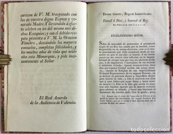 Libros antiguos: ORACION FÚNEBRE QUE EN LAS EXEQUIAS DEL REY Y SEÑOR D. CARLOS CUARTO DE BORBON, celebradas por el Re - Foto 3 - 123205663