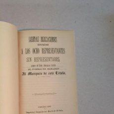 Libros antiguos: LIGERAS INDICACIONES DIRIGIDAS A LOS OCHO... LÍBELO INFAMATORIO TITULADO EL PUEBLO DE BENAJEMÍ -1876. Lote 225947155