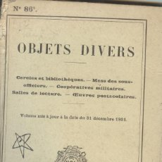 Libros antiguos: OBJETS DIVERS Nº 86 DECEMBER 1931:. Lote 228172580