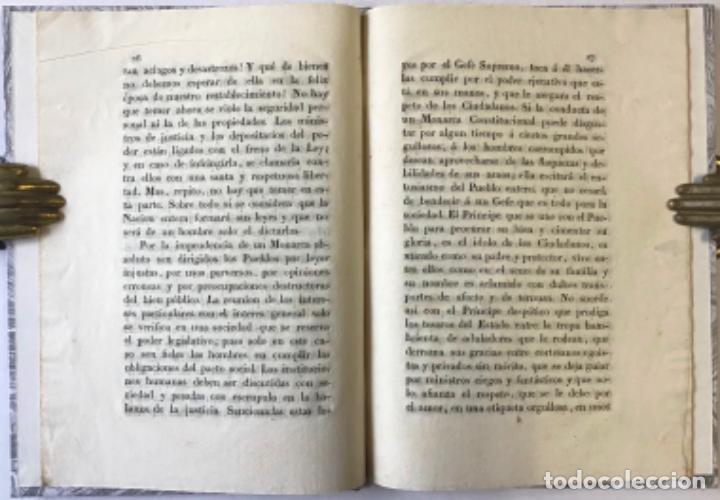 Libros antiguos: LA CONSTITUCION POLÍTICA DE LA MONARQUÍA ESPAÑOLA BASE DE NUESTRA FELICIDAD, cuando esté apoyada... - Foto 3 - 243542595