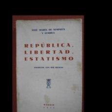 Libros antiguos: REPÚBLICA, LIBERTAD, ESTATISMO (ESCRITOS CON FECHAS). JOSÉ M. DE SEMPRÚM Y GUERRA. Lote 243855640