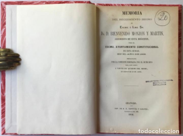 MEMORIA DEL RECIBIMIENTO HECHO AL EXCMO. É ILMO. SR. DR. D. BIENVENIDO MONZON Y MARTIN, ARZOBISPO... (Libros Antiguos, Raros y Curiosos - Pensamiento - Política)