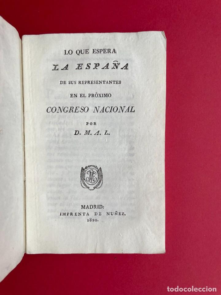 1820 - LO QUE ESPERA DE ESPAÑA DE SUS REPRESENTANTES - TRIENIO LIBERAL (Libros Antiguos, Raros y Curiosos - Pensamiento - Política)