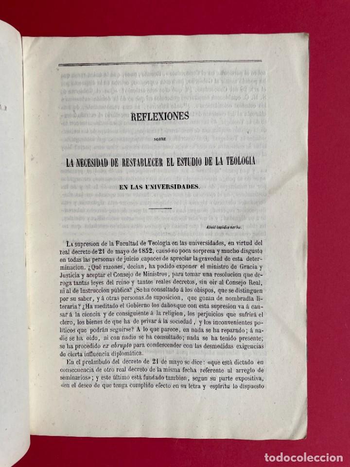 Libros antiguos: 1854 - SOBRE LA NECESIDAD DE RESTABLECER FACULTADES DE TEOLOGIA - Foto 3 - 244864805