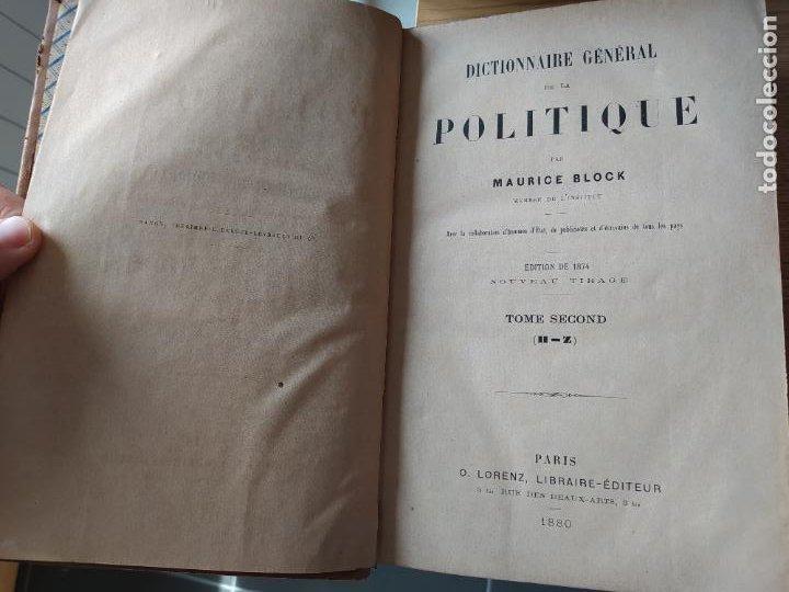 Libros antiguos: DICTIONNAIRE GENERAL DE LA POLITIQUE. BLOCK Maurice. Paris, ed. Lorenz 1880 RARE - Foto 10 - 245902610