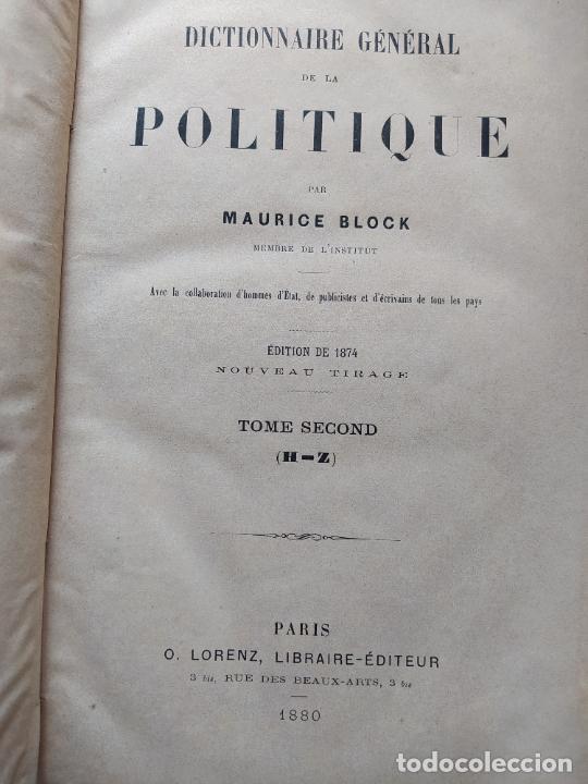 Libros antiguos: DICTIONNAIRE GENERAL DE LA POLITIQUE. BLOCK Maurice. Paris, ed. Lorenz 1880 RARE - Foto 11 - 245902610
