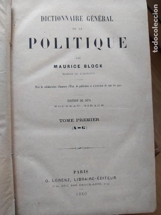 Libros antiguos: DICTIONNAIRE GENERAL DE LA POLITIQUE. BLOCK Maurice. Paris, ed. Lorenz 1880 RARE - Foto 17 - 245902610