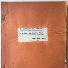 Libros antiguos: L'HOSPITALET DE LLOBREGAT EN EL DIARI DEL BARÓ DE MALDÀ. LEMA: AHIR I AVUI. - [MECANOSCRIT].. Lote 246443470