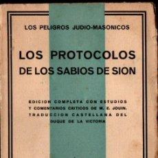 Libros antiguos: LOS PROTOCOLOS DE LOS SABIOS DE SIÓN (FAX, 1932) INTONSO. Lote 246513000
