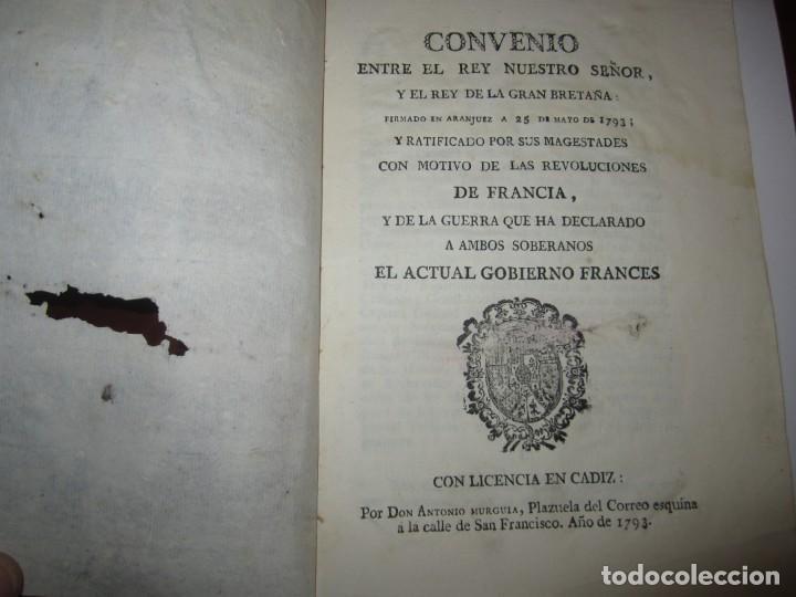 CONVENIO ENTRE REY DE ESPAÑA Y REY DE GRAN BRETAÑA CONTRA GOBIERNO FRANCIA 1793 CADIZ (Libros Antiguos, Raros y Curiosos - Pensamiento - Política)