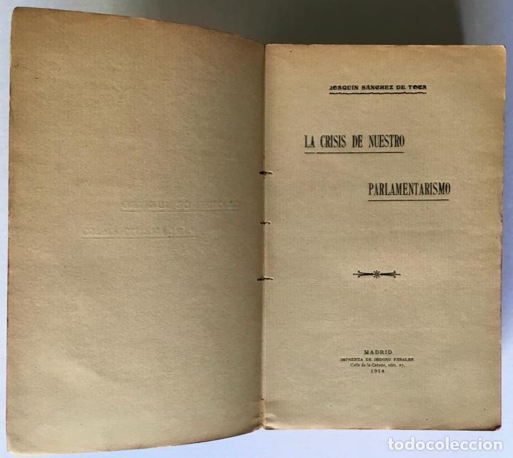 Libros antiguos: LA CRISIS DE NUESTRO PARLAMENTARISMO. - SÁNCHEZ DE TOCA, Joaquín. - Foto 2 - 249494420