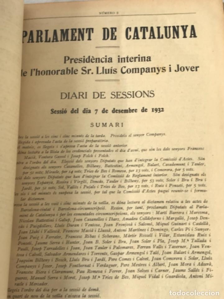 Libros antiguos: DIARI DE SESSIONS DEL PARLAMENT DE CATALUNYA, 1932. 12 NÚMEROS LLUÍS COMPANYS. - Foto 3 - 251959800
