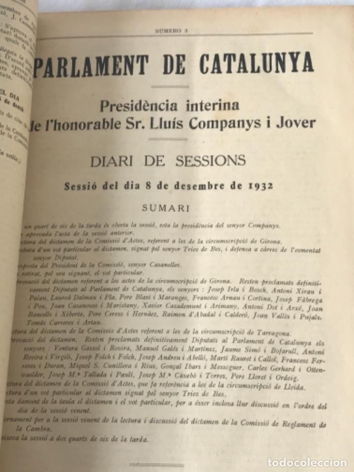 Libros antiguos: DIARI DE SESSIONS DEL PARLAMENT DE CATALUNYA, 1932. 12 NÚMEROS LLUÍS COMPANYS. - Foto 4 - 251959800