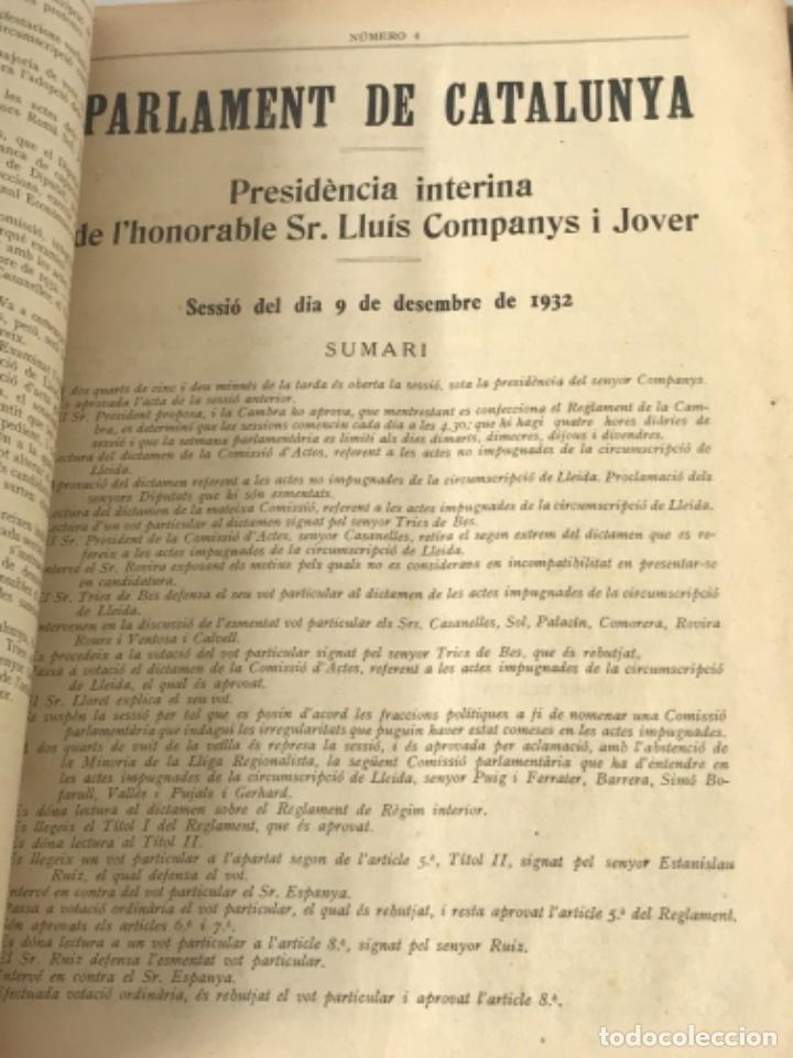 Libros antiguos: DIARI DE SESSIONS DEL PARLAMENT DE CATALUNYA, 1932. 12 NÚMEROS LLUÍS COMPANYS. - Foto 5 - 251959800