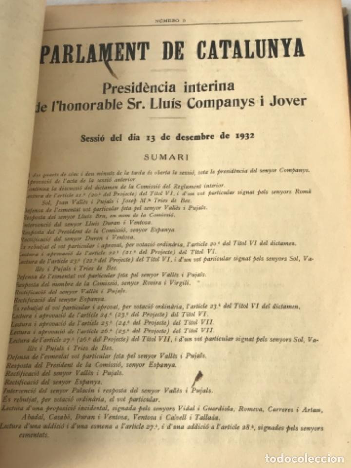 Libros antiguos: DIARI DE SESSIONS DEL PARLAMENT DE CATALUNYA, 1932. 12 NÚMEROS LLUÍS COMPANYS. - Foto 6 - 251959800