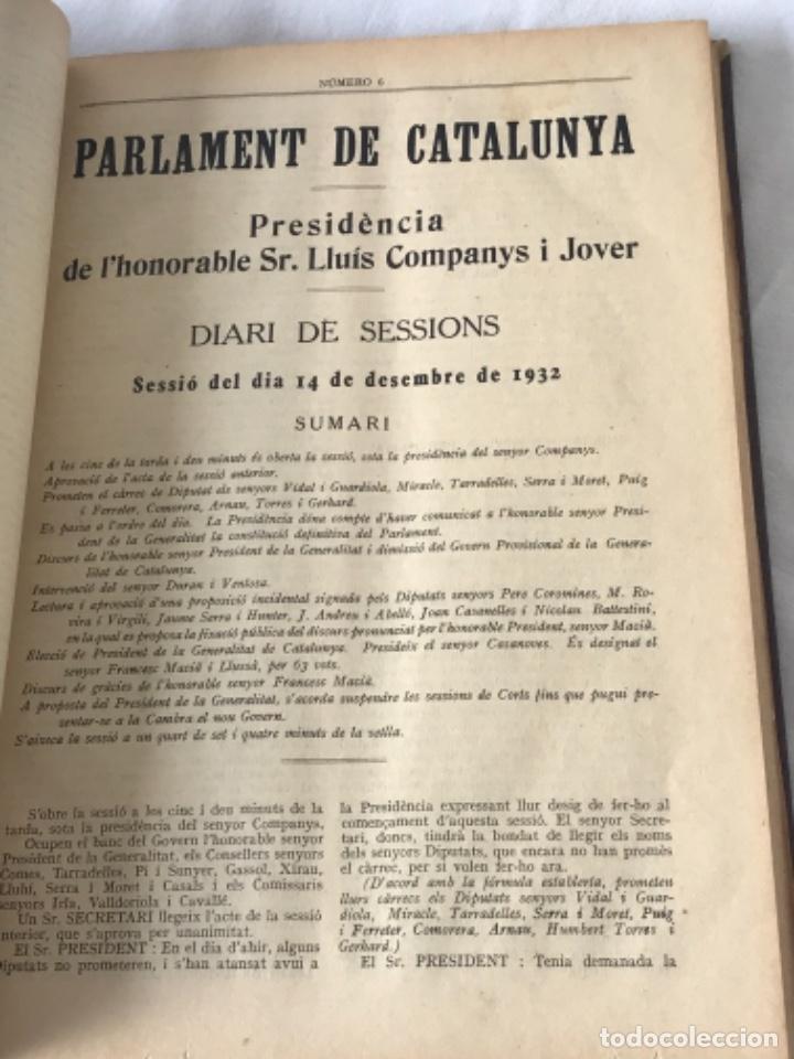 Libros antiguos: DIARI DE SESSIONS DEL PARLAMENT DE CATALUNYA, 1932. 12 NÚMEROS LLUÍS COMPANYS. - Foto 7 - 251959800