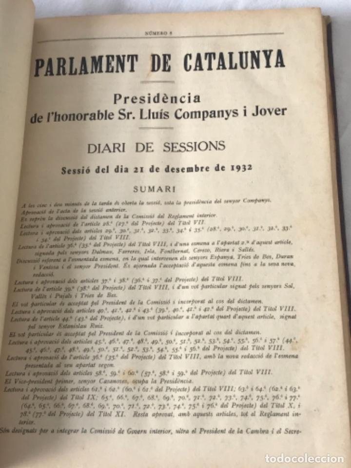 Libros antiguos: DIARI DE SESSIONS DEL PARLAMENT DE CATALUNYA, 1932. 12 NÚMEROS LLUÍS COMPANYS. - Foto 8 - 251959800