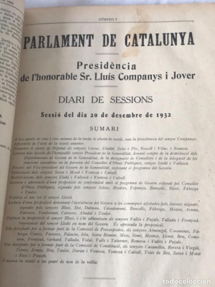 Libros antiguos: DIARI DE SESSIONS DEL PARLAMENT DE CATALUNYA, 1932. 12 NÚMEROS LLUÍS COMPANYS. - Foto 9 - 251959800