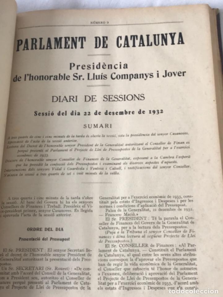Libros antiguos: DIARI DE SESSIONS DEL PARLAMENT DE CATALUNYA, 1932. 12 NÚMEROS LLUÍS COMPANYS. - Foto 10 - 251959800