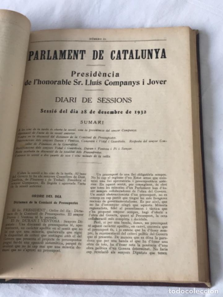 Libros antiguos: DIARI DE SESSIONS DEL PARLAMENT DE CATALUNYA, 1932. 12 NÚMEROS LLUÍS COMPANYS. - Foto 11 - 251959800