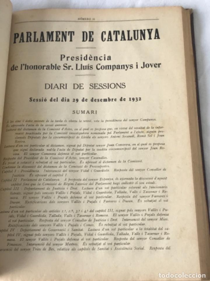 Libros antiguos: DIARI DE SESSIONS DEL PARLAMENT DE CATALUNYA, 1932. 12 NÚMEROS LLUÍS COMPANYS. - Foto 12 - 251959800