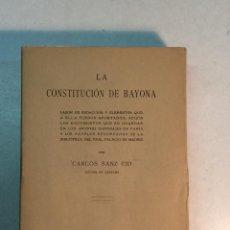 Libros antiguos: CARLOS SANZ CID: LA CONSTITUCIÓN DE BAYONA (1922). Lote 254284105