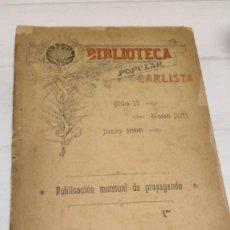 Libri antichi: BIBLIOTECA POPULAR CARLISTA (TOMO XIII) (VER FOTOS). Lote 254848720