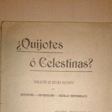 Libros antiguos: ¿QUIJOTES O CELESTINAS? VIOLACION DE ESPAÑA NACIENTE POR INSTITUTOS-UNIVERSIDADES-ESCUELAS. Lote 260563140