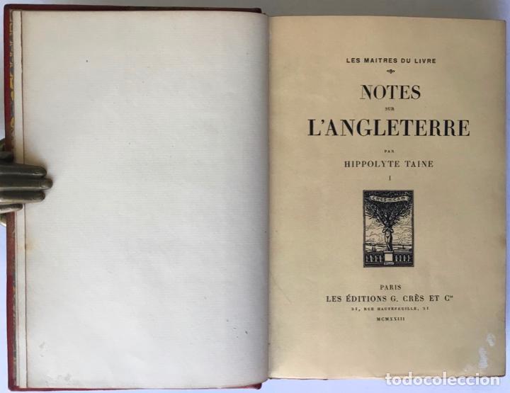 Libros antiguos: NOTES SUR LANGLETERRE. - TAINE, Hippolyte. - Foto 2 - 260816095