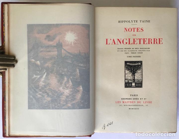 Libros antiguos: NOTES SUR LANGLETERRE. - TAINE, Hippolyte. - Foto 4 - 260816095