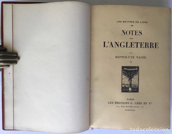 Libros antiguos: NOTES SUR LANGLETERRE. - TAINE, Hippolyte. - Foto 8 - 260816095