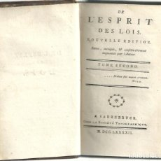 Libros antiguos: MONTESQUIEU - DE L'ESPRIT DES LOIS - TOME SECOND. ED. 1792. Lote 262513790