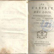 Libros antiguos: MONTESQUIEU - DE L'ESPRIT DES LOIS - TOME QUATRIÈME. ED. 1768. Lote 262514095