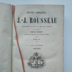 Libros antiguos: OBRAS COMPLETAS J.-J. ROUSSEAU 1857-1858: EL CONTRATO SOCIAL, PIGMALION, ETC (TOMOS 7 Y 8 EN UN VOL). Lote 265349164