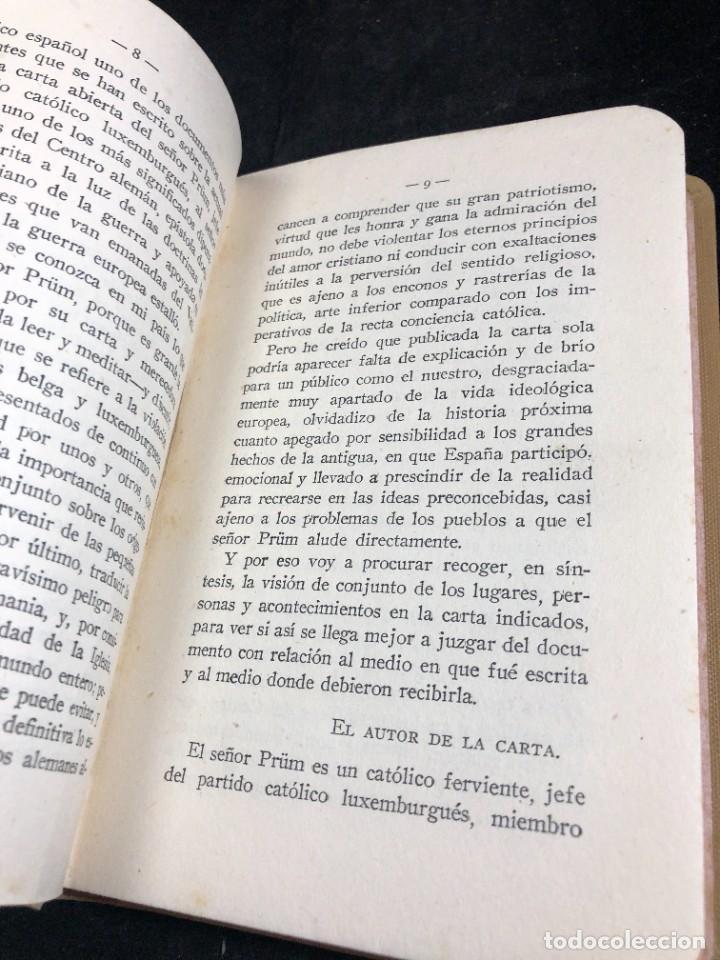 Libros antiguos: Alemania en Bélgica a la luz de las doctrinas de la Iglesia 1915 Carta Emilio Prüm Matías Erzberger - Foto 9 - 267130334