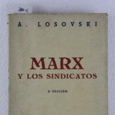 Libros antiguos: MARX Y LOS SINDICATOS POR A. LOSOVSKI. 2ª EDICIÓN 1935.ED. EUROPA-AMÉRICA. BIBLIO. MOVIMIENTO OBRERO. Lote 270698098