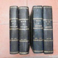 Libros antiguos: LOTE 4 GRANDES LIBROS AÑOS 1871-74 BOLETINES ADMINISTRACIÓN - PIEL 20 CENTS LOMOS MARTÍNEZ ALCUBILLA. Lote 276557163