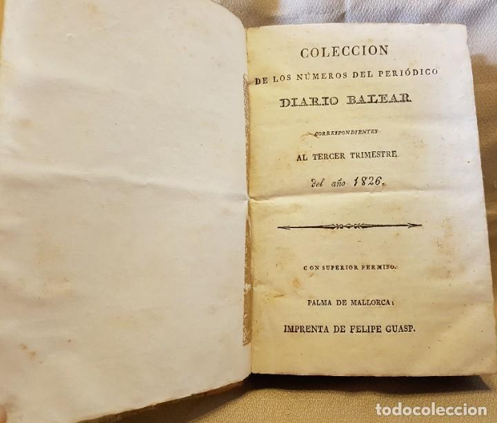 Libros antiguos: DIARIO BALEAR TERCER TRIMESTRE 1826 - SABADDO 1 DE JULIO 1826 AL VIERNES 19 SETIEMBRE 1826 - Foto 3 - 276581593