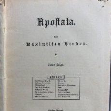 Libros antiguos: APOSTATA. VON MAXIMILIAN HARDEN. ORIGINAL ALEMÁN, 1892. Lote 286868533