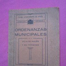 Libros antiguos: ORDENANZAS MUNICIPALES DE LA VILLA DE AVILES Y SU TERMINO ASTURIAS CON EXLIBRIS 1922 L4C1. Lote 287936473