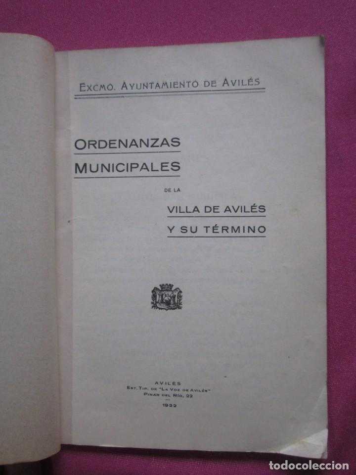 Libros antiguos: ORDENANZAS MUNICIPALES DE LA VILLA DE AVILES Y SU TERMINO ASTURIAS CON EXLIBRIS 1922 L4C1 - Foto 2 - 287936473