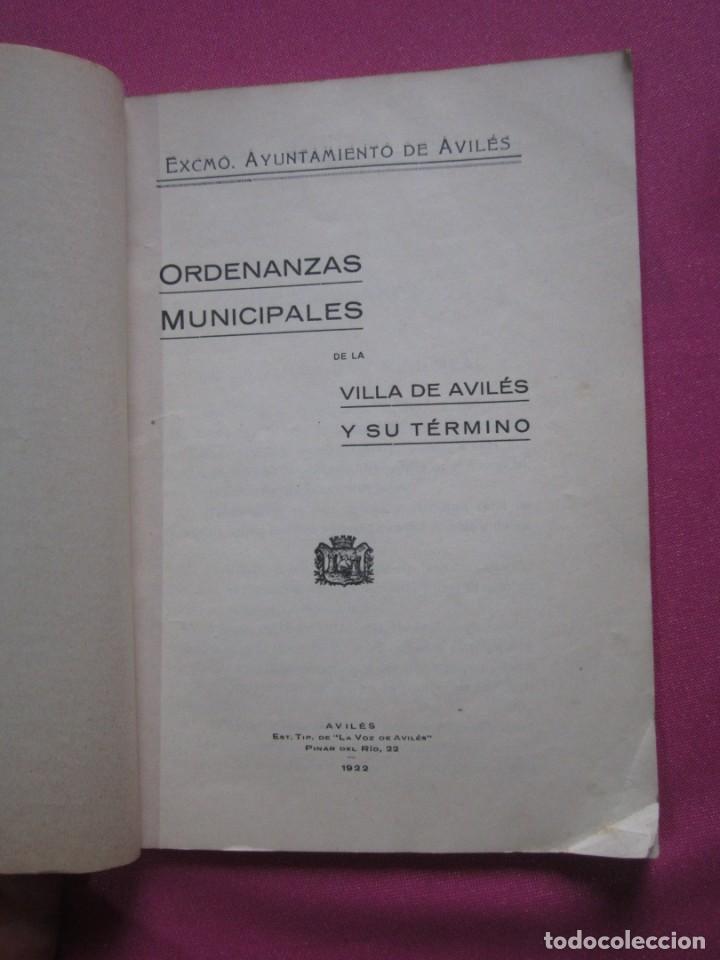 Libros antiguos: ORDENANZAS MUNICIPALES DE LA VILLA DE AVILES Y SU TERMINO ASTURIAS CON EXLIBRIS 1922 L4C1 - Foto 9 - 287936473