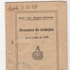 Livros antigos: LOGIA HISPANO-AMERICANA. RESUMEN DE TRABAJOS DE JUNIO Y JULIO DE 1928. MASONERIA. Lote 296813163