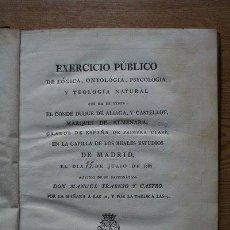 Libros antiguos: EXERCICIO PÚBLICO DE LÓGICA, ONTOLOGÍA, PSICOLOGÍA Y TEOLOGÍA NATURAL QUE HA DE TENER EL CONDE .... Lote 21530322