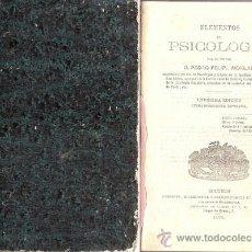 Libros antiguos: ELEMENTOS DE PSICOLOGÍA – AÑO 1875. Lote 41098086