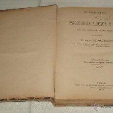 Libros antiguos: ELEMENTOS DE PSICOLOGIA,LOGICA Y ETICA D.BARTOLOME BEATO MADRID AÑO 1884. Lote 46759343